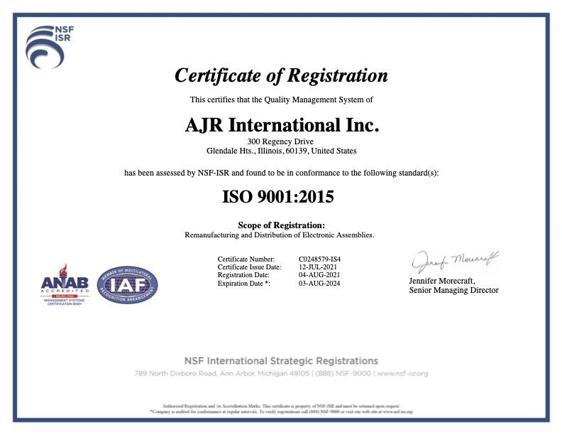 Ajr Intl Iso 9001 Certification
